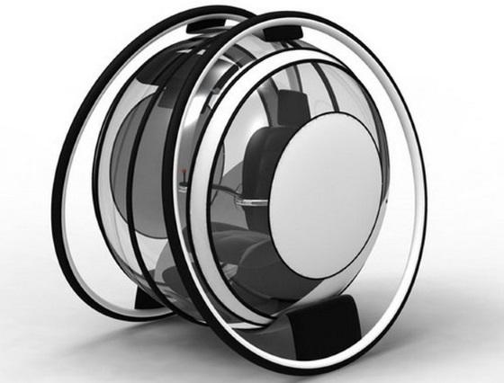 Концепт прозрачного двухколесного автомобиля