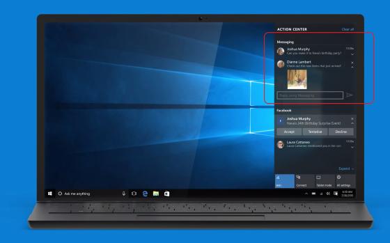 Появились первые фото штатного мессенджера Windows 10