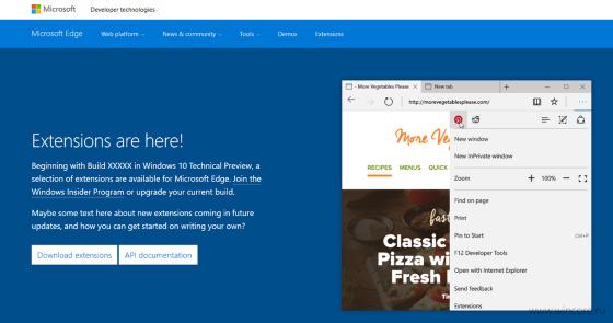 Microsoft Edge практически готов к поддержке расширений