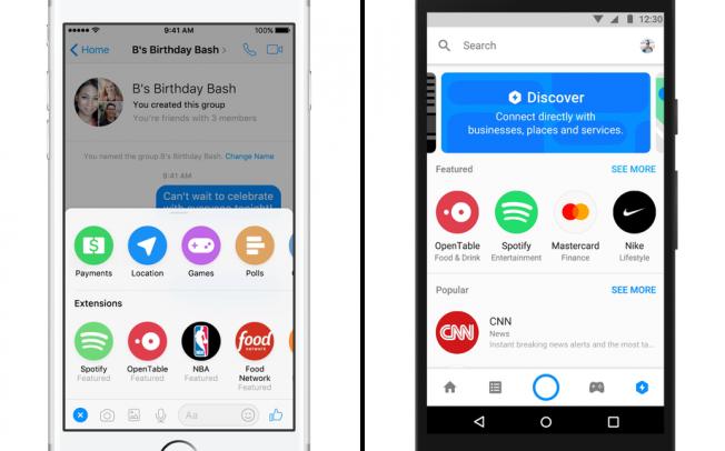 Facebook Messenger получил Spotify, Apple Music, Delivery, Mastercard и других ботов