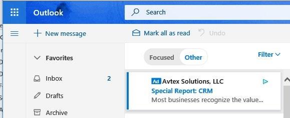Outlook.com начнет показывать рекламу во входящих письмах