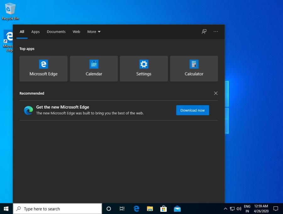 Реклама Microsoft Edge появляется в поиске Windows 10 | forNote.net